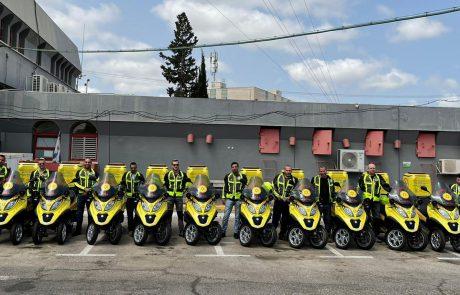 """מקצרים את זמני התגובה: עשרה אופנועי חירום חדשים למערך האופנועים של מד""""א"""