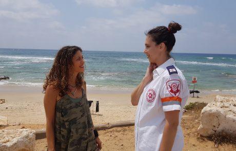 מפגש מרגש בין קרן שטבעה בחוף מכמורת לבין הפארמדיקית שהצילה את חייה